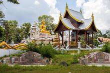 Beautiful Cloudscape Over Wat Ban Na Muang Buddhist Temple In Ubon Ratchathani, Rai Noi, Thailand