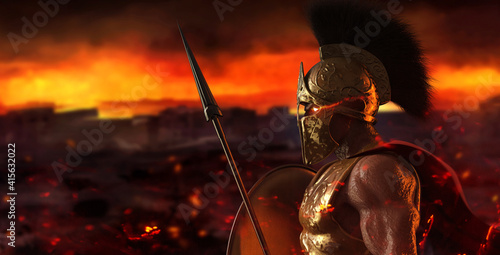 3d render illustration of spartan king demigod in golden armor and helmet, holding spear and shield on burning battlefield background Fototapeta