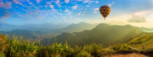 Panorama Of Mountain With Hot Air Balloons On Morning At Thailand.