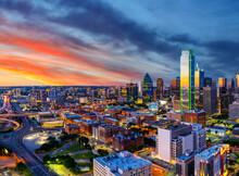 Dallas, Texas Skyline At Sunset