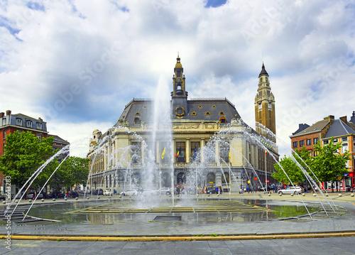 Fototapeta Charleroi, Belgium - Hotel de Ville and Belfry