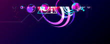 Dark Retro Futuristic Art Neon Abstraction Background Cosmos New Art 3d Starry Sky Glowing Galaxy And Planets Blue Circles