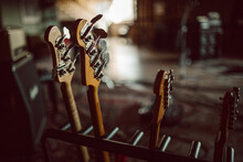 Guitar Headstock In Professional Recording Studio