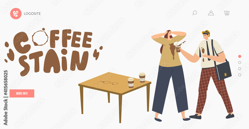 Fototapeta Clumsy Male Character Spill Coffee on Woman T-shirt Put Stains on Clothes Landing Page Template. Clumsiness, Accident