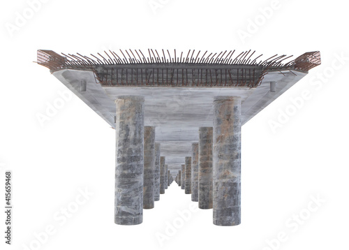 Vászonkép Straight view of an unfinished reinforced ferro concrete bridge with iron wire r