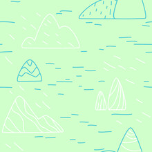 Seamless Pattern With Blue And White Mountains And Ricks In Line Art Style On Light Green Background