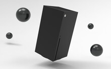 3d Illustration Render Video Game Console Similar To Xbox Series X On Black Background White