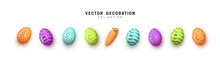Easter Eggs Multicolored Set Realistic Isolated. Vector Illustration