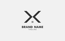 Unique Letter X House Logo Design Vector Template