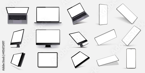 Fototapeta Mock-ups gadgets collection smartphone, tablet, laptop, notebook blank screen. Device UI/UX mockup for presentation template. Vector illustration mobile device at different angles obraz