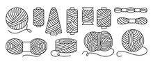 Sewing Threads Or Yarn Black Line Set. Spool And Bobbin Outline. Dressmaking Needlework Tools. Dressmaking, Sewing Workshop, Tailoring Hobby Knitting, Weaving Wool. Isolated Vector Illustration