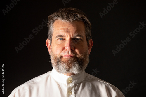 Canvas Print Portrait of man in traditional mennonite style of beard with no moustache in studio