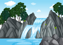 Forest Background Scene With Waterfall