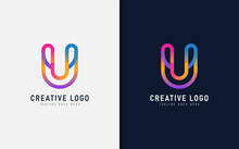 Abstract Initial Letter U Logo Design. Creative Colorful Letter U, Usable For Brand And Company. Vector Logo Illustration.