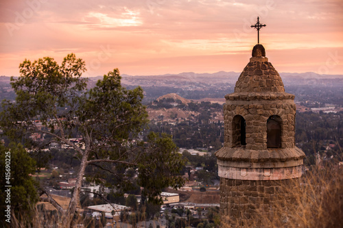 Tela Sunset view of the historic Peace Tower built in 1925 above downtown Riverside, California, USA
