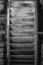 Black And White Of An Old Waterwheel Of A Gristmill, Showing Various Layer Of Shade.
