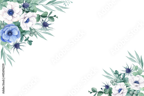 Beautiful white and blue anemone flower with eucalyptus leaves Tapéta, Fotótapéta