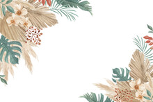 Bohemian And Tropical Floral Background Perfect For Wedding Invitation, Greeting Card, Backdrop Or Any Other Design