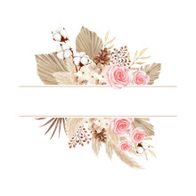 Watercolor Boho Style Frame With Rose And Dry Leaves