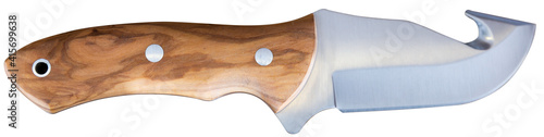 Slika na platnu Closeup of skinner knife with wooden handle isolated on white background