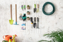 Set Of Gardening Supplies And Houseplants In Barn