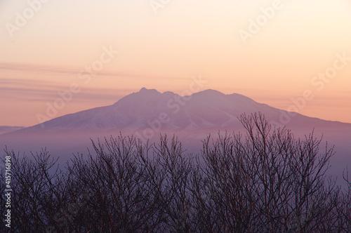 Leinwand Poster 夜明けの空と山の稜線。葉の無い木々のシルエット。