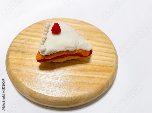 Canvas-taulu Image of strawberry shortcake made of clay