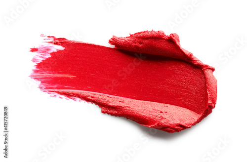 Obraz Red lipstick smear isolated on white background - fototapety do salonu