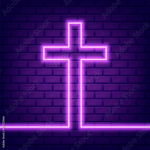 Fotografie, Tablou Christian cross glowing neon sign or LED strip light