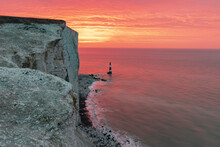Brilliant Colourful Sunrise From The Cliff Edge At Beachy Head East Sussex South East England