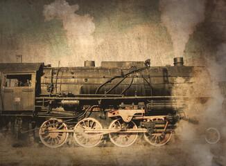 Fototapeta na wymiar old locomotive with steam.