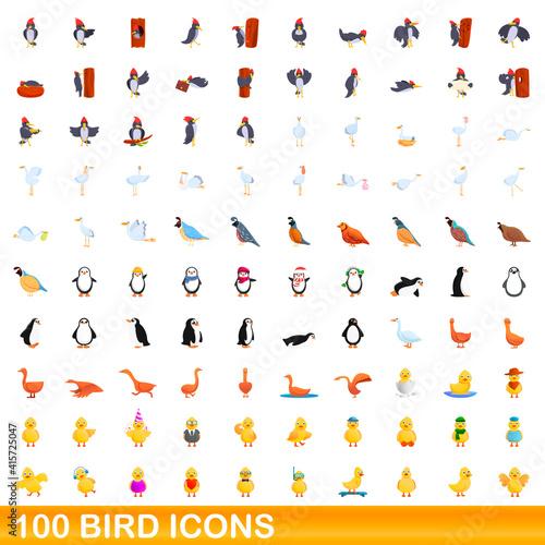 Fototapeta premium 100 bird icons set. Cartoon illustration of 100 bird icons vector set isolated on white background