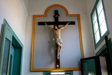 Palermo, Italy, September 03, 2017, Monastery Of Santa Caterina, Evocative Image Of An Ancient Crucifix Hanging On The Wall