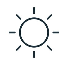 Simple Line Art Icon Of Sun With Bright Sunbeams. Line Art Symbol Of Hot Weather Or Intensity. Solar Circle With Rays. Linear Flat Vector Illustration Isolated On White Background