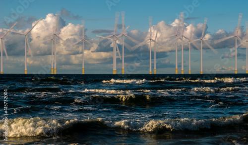Stampa su Tela Wind turbines in an offshore wind farm