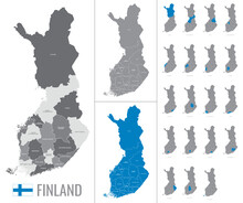 Detailed Vector Map Of Finland Regions With Flag On White Background