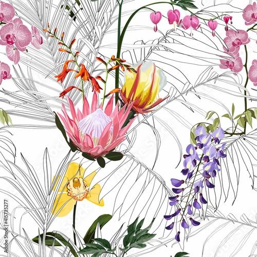 Tapety Tropikalne  egzotyczne-kwiaty-i-liscie-tropikalny-wzor-tlo-tlo-z-liscmi-i-kwiatami-linii-palm