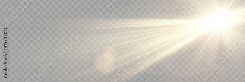 Vector transparent sunlight special lens flare light effect. - fototapety na wymiar