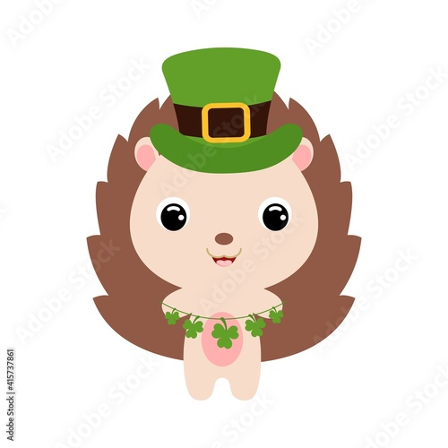 Fotografie, Tablou Cute hedgehog in green leprechaun hat