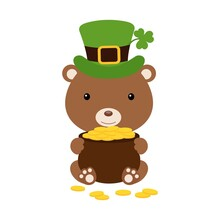 Cute Bear In Green Leprechaun Hat With Clover Holds Bowler With Gold Coins. Cartoon Sweet Animal. Vector St. Patrick's Day Illustration On White Background. Irish Holiday Folklore Theme.