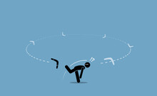 Man Throwing A Boomerang And Surprised When It Flew Back To Hit Him From The Back. Vector Illustration Depicts Execution Problem, Karma, Bad Luck, After Effect, Repercussion, And Consequences.