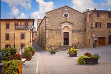 Garibaldi Square And The Church Of St. Abbot Giles (St. Egidio Abate), Montalcino, Italy