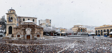 Panorama Of The Snow Covered Monastiraki Square In The Center Of The Old Town Of Athens, Greece, During A Winter Day