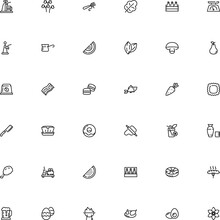Icon Vector Icon Set Such As: Soju, Company, Sharp, Bacon, Veggie, Machine, Cappelletti, Herb, Rigate, Culture, Caraway, Autumn, April, Asia, Fungi, Wildlife, Piece, Cheeseburger, Package, Sale