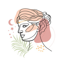 Ancient Greek Goddess Statue In A Continuous Line. Vector Illustration. Modern Drawing. Roman Style Elements