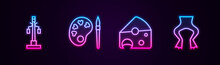 Set Line Street Light, Paint Brush With Palette, Cheese And Frog Legs. Glowing Neon Icon. Vector.