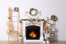 Beautiful Easter Photo Zone With Floral Decor And Bunnies