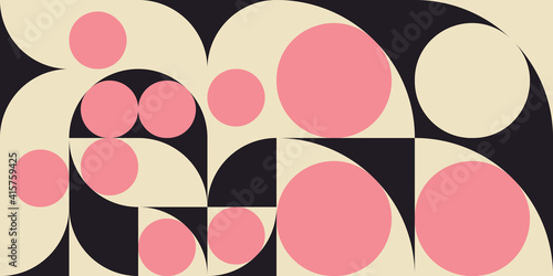 Fotomural Modern vector abstract  geometric background with circles, rectangles and squares  in retro scandinavian style