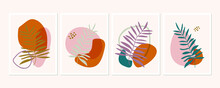 Botanical Wall Art Posters Collection. Set Of Tropical Leaves Drawings With Abstract Shapes In Pastel Colors. Artistic Wildlife Nature Art. Minimalist Modern Floral Background.