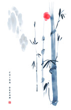 Chinese Ink Painted Background With Mountains, Bamboo And Sun. China Dream.